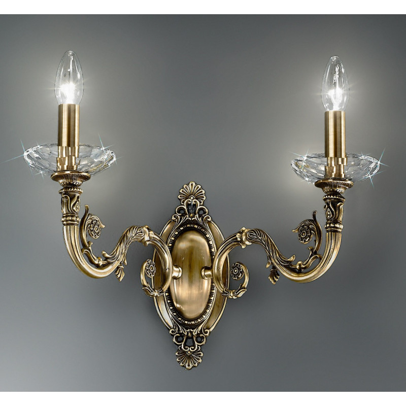 Kolarz Contarini Crystal Wall Light Antique Brass