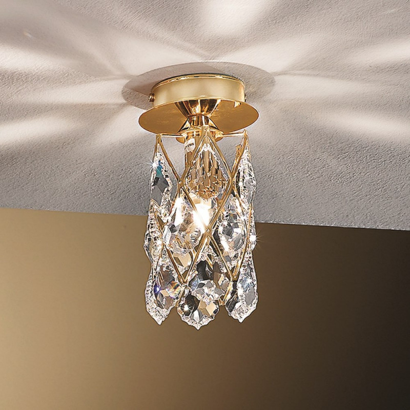 Orion Rankweil Crystal Ceiling Light Gold Lighting Deluxe