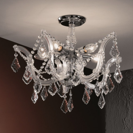 Orion Amstetten Crystal Ceiling Light Silver