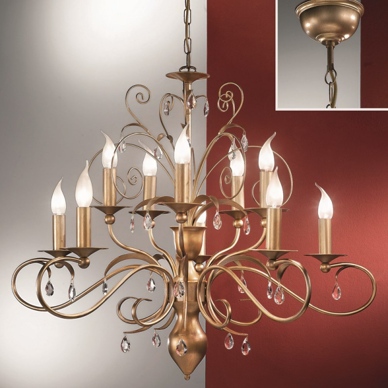 Orion Eckbauer Antique Gold Chandelier