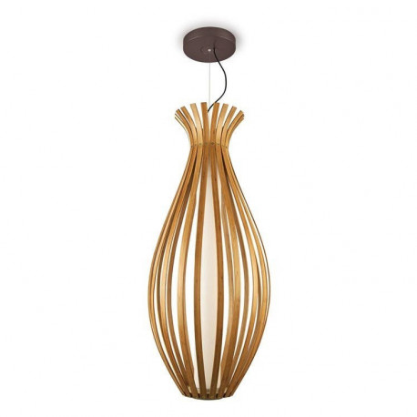 Grok Bamboo LED 1 Light Adjustable Ceiling Pendant Brown
